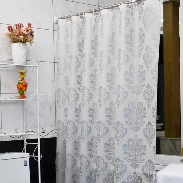 Europe White PEVA Bath Curtains Flower Eco-friendly Waterproof ...