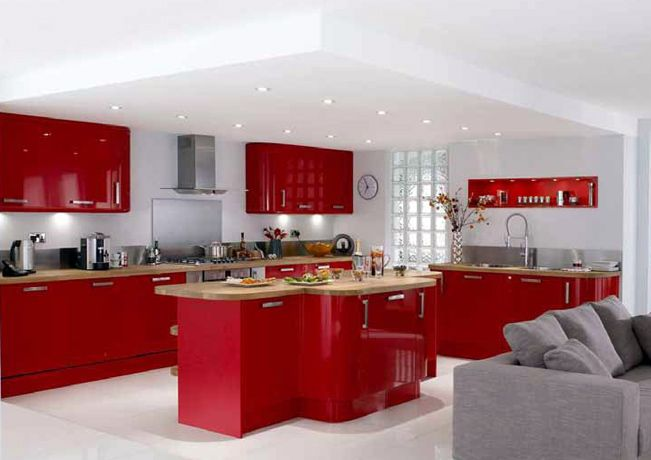 Urban red high gloss kitchen. Just the touch of class you ...