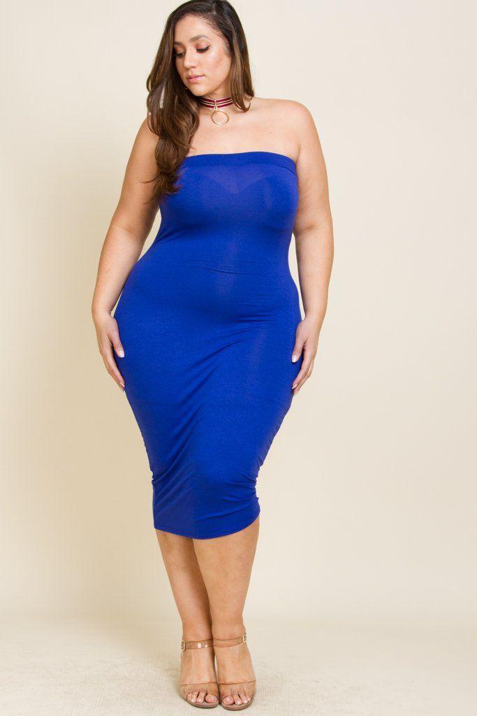 Plus Size Plain Tube Dress | Tube top dress, Curvy girl ...