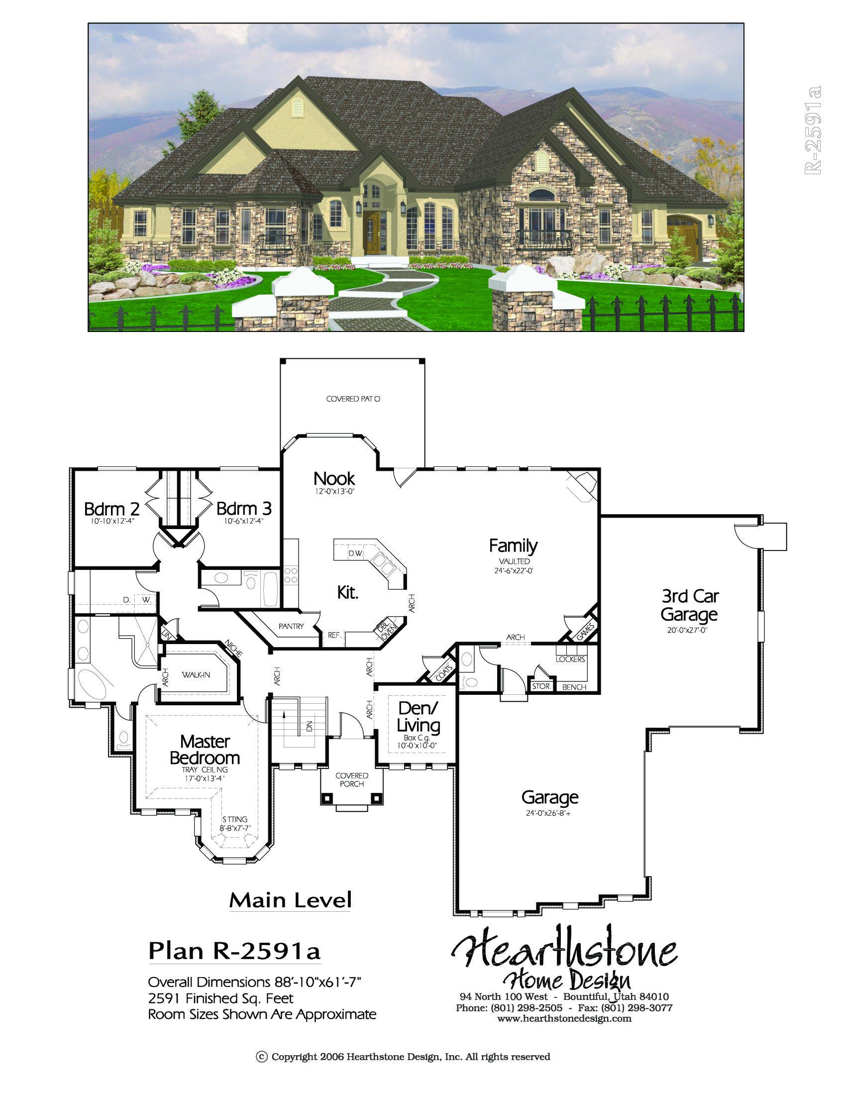 R 2591a Hearthstone Home Design My House Plans Dream House Plans Rambler House Plans