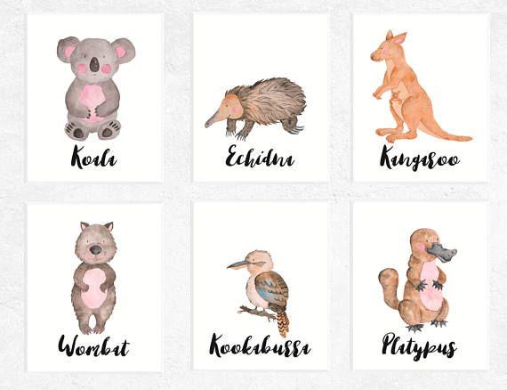 Australian Animal Printables Set Of 6 Australian Animals Nursery Printables Koala Print Wombat Printable Kangaroo Printable Animal Printables Australian Animal Nursery Nursery Printable Animals
