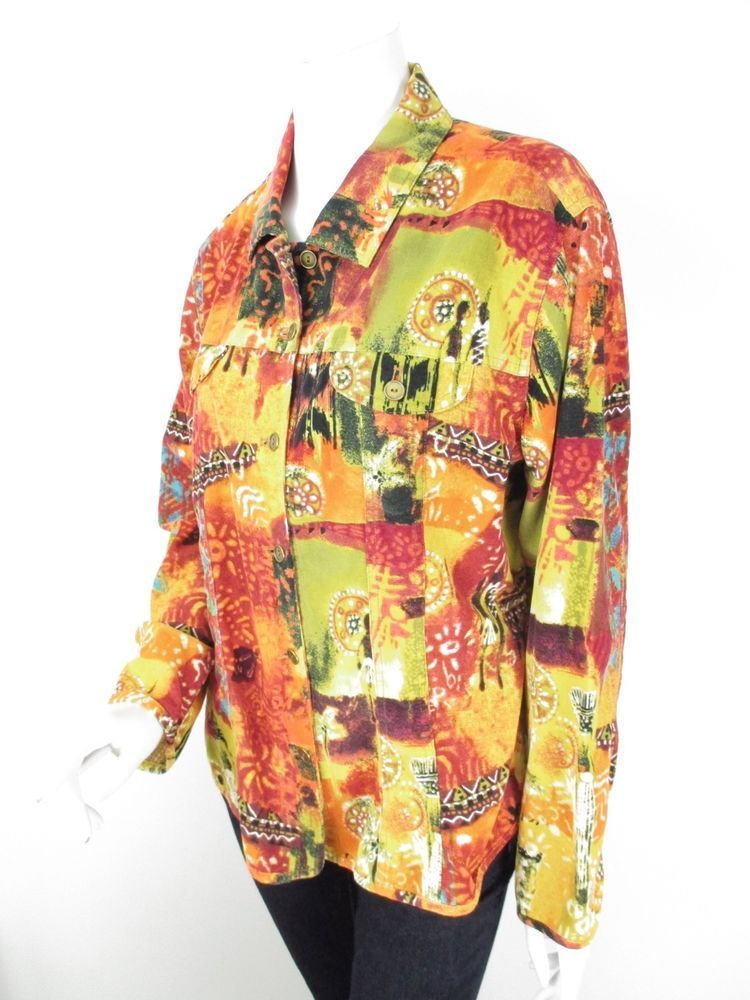 40daaa2fe4e32 Chico s Red Orange Yellow African Village Tribal Corduroy Jacket 3 LARGE L   Chicos  BasicJacket