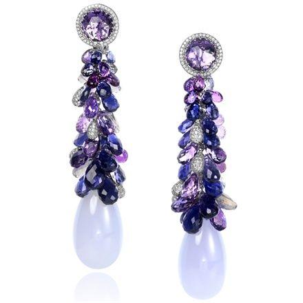 Chopard Amethyst, Diamond & Tanzanite Briolette Drop Earrings
