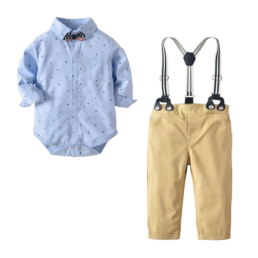 86de5ca8c Baby Boys Clothes Sets kids birthday wedding gentleman suit Long Sleeve Bow  rompers + Suspenders Pants Newborn Boy 2PCS Outfits