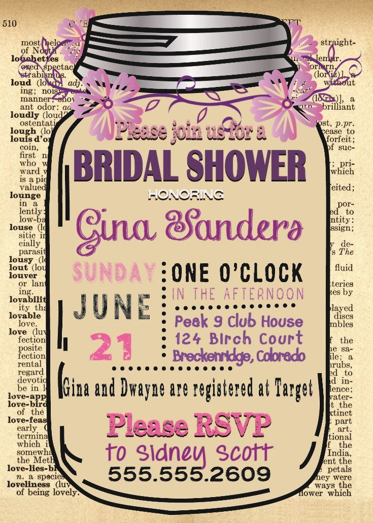 Bridal Shower Invitation Template with dictionary page background