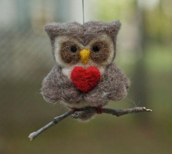 needle felted valentine's owl $19.00
