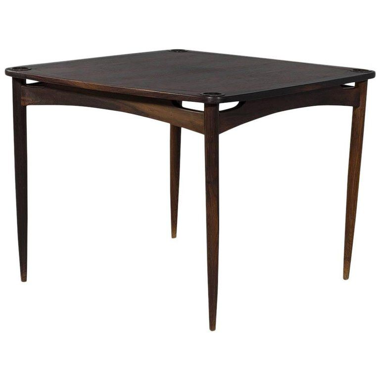 Rosewood Mid Century Games Card Bridge Table From A Unique