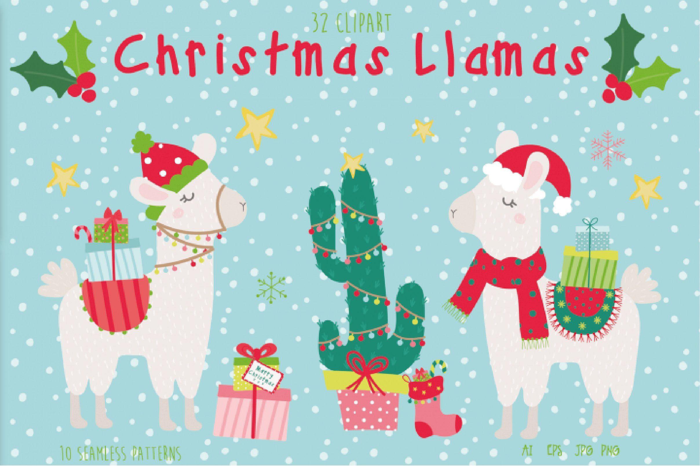 New Christmas Bundle 2 Llama Christmas Christmas Drawing Holiday Clipart