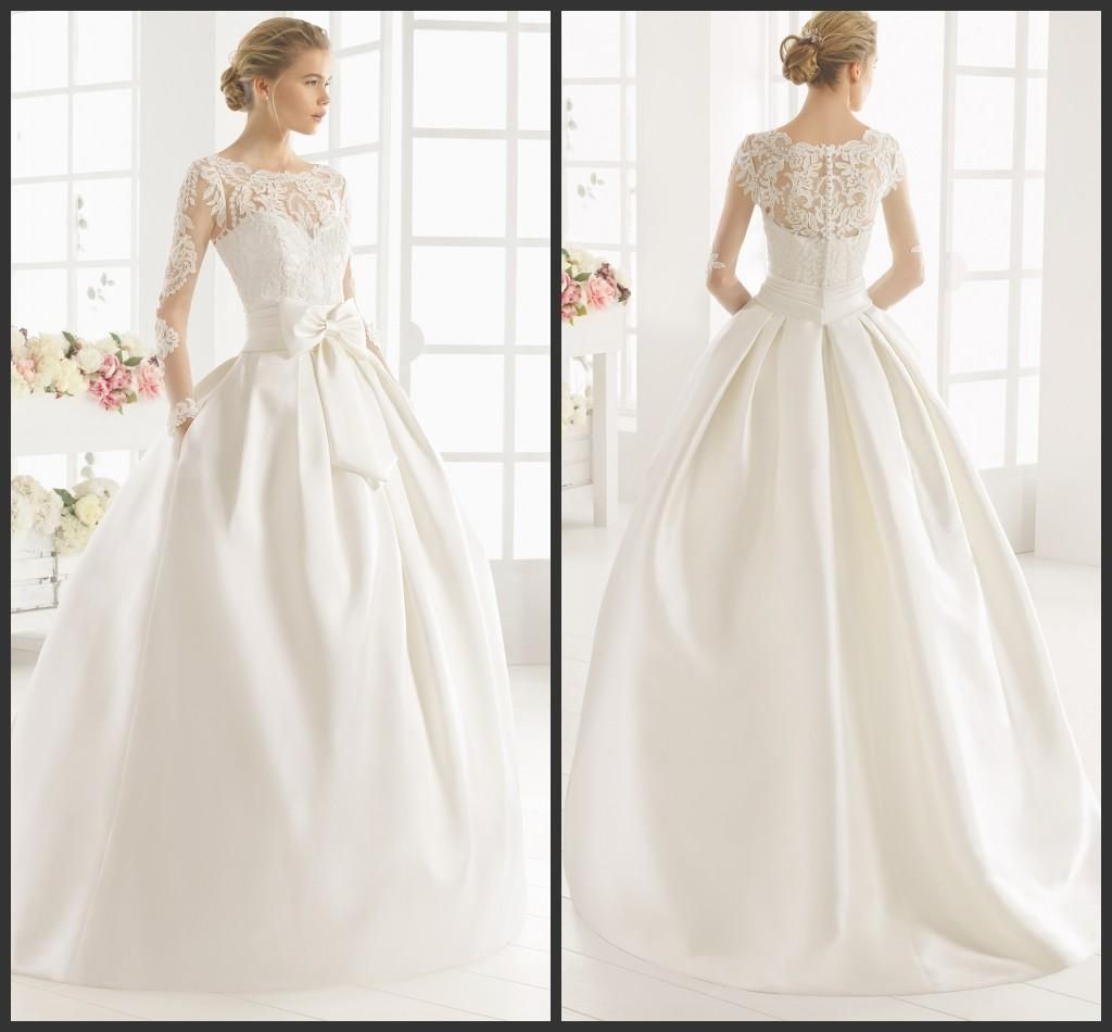 White mikado ball gown wedding dresses kr 2016 sheer scoop white mikado ball gown wedding dresses kr 2016 sheer scoop neckline illusion long sleeves appliques lace bow bridal gowns side pocket ombrellifo Choice Image