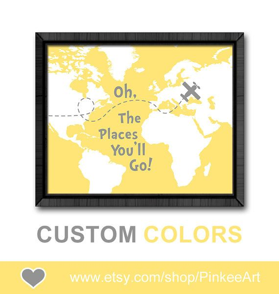 Oh the places you\'ll go map yellow gray, airplane playroom decor ...