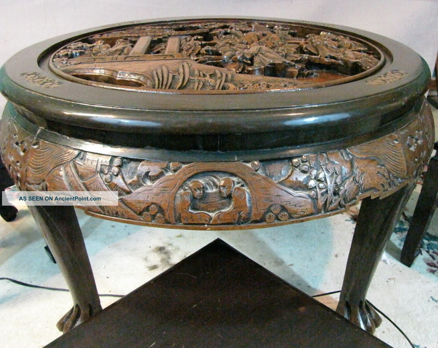 Chinese Carved Chair Hand Wood Tea Coffee Table With 4 Matching