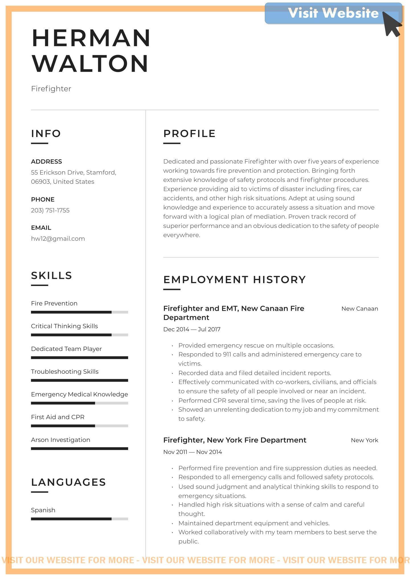 Firefighter Cover Letter For Resume In 2020 Resume Objective Security Resume Resume Objective Examples