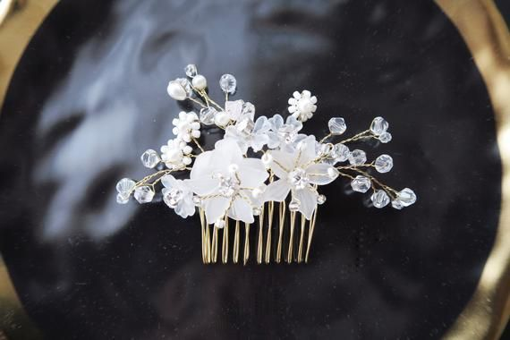 Bridal Flower Hair Comb Bridal Hair Accessories Bridal Headpiece Flower Hair Comb - Wedding Headpiece - Bridal Comb Bridal Shower Gift #brautblume