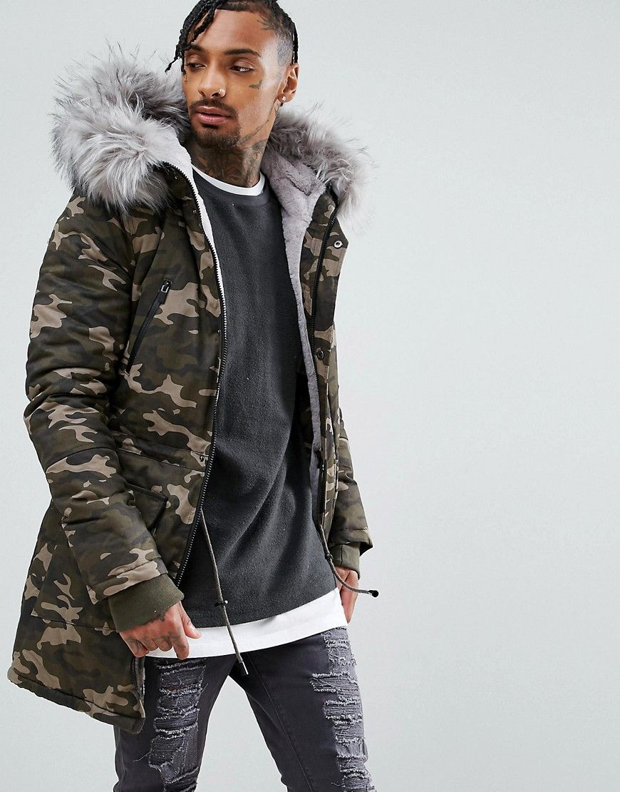 5f33f5e7 Sixth June Parka Jacket In Camo With Extreme Faux Fur Hood - Green ...