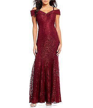 9831c40e2c8 R   M Richards Off-the-Shoulder Sweetheart Lace Gown