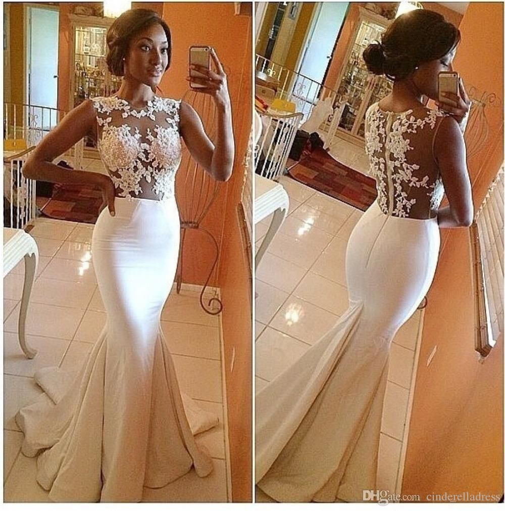 2018 In Stock Elegant Mermaid Sheer Wedding Dresses Hollow Back Cap Sleeve Beaded Crystal Court Train Lace Bridal Gowns Country Bohemian