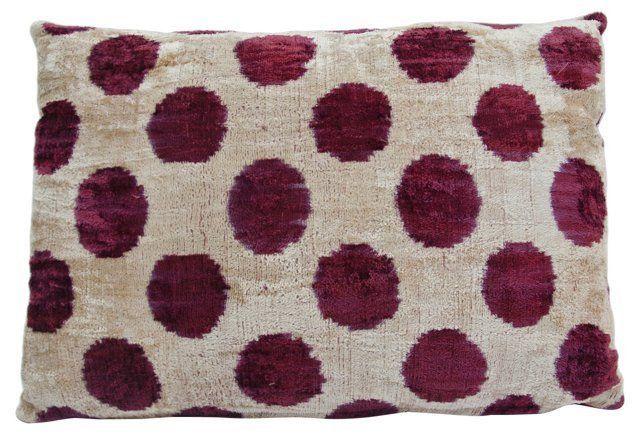 Ikat Pillow Sham w/ Red Dots