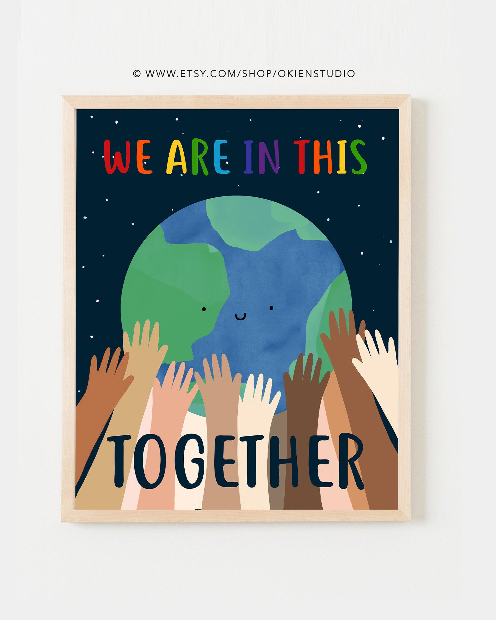 Printable Together Diversity Poster Earth Hands Print Etsy In 2021 Diversity Poster Peace Poster Art Wall Kids