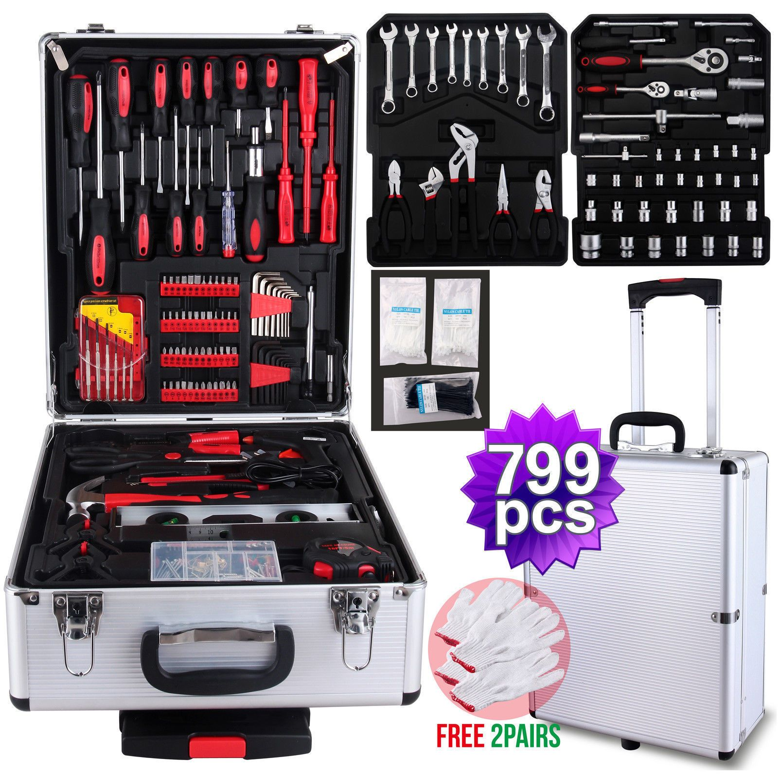599 pcs tool set crimping tool with cutter