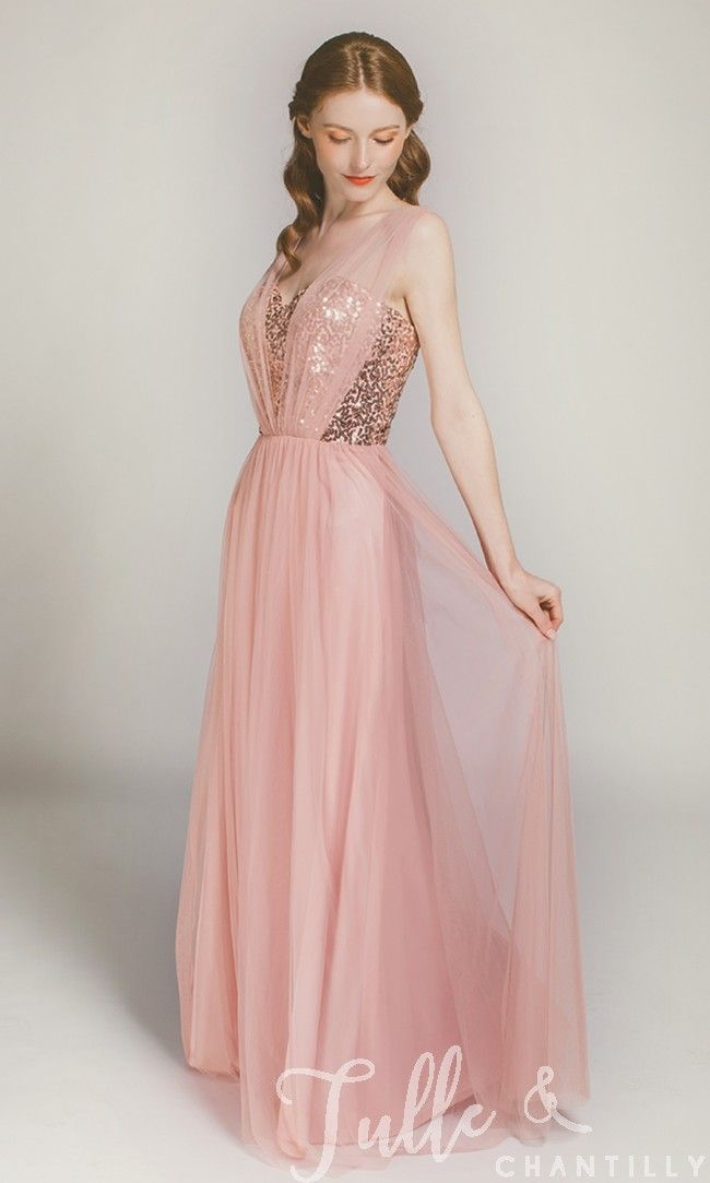 Sparkling Rose Gold Sequined Bridesmaid Dress with Tulle Skirt TBQP378