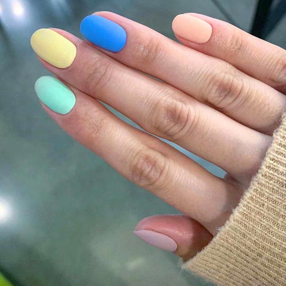 Short Matte Multi Color Nails For Spring 2020 In 2020 Multicolored Nails Acrylic Nails Almond Shape Fake Nails Shape