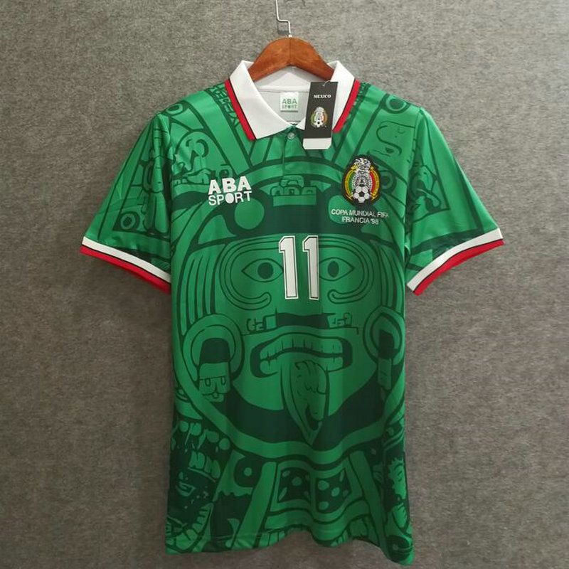 c3a41fcb4 Mexico 1998 Blanco World Cup Retro Soccer Jersey Vintage Classic Football  Shirt