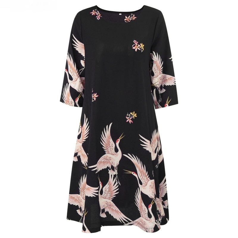Crane Print O Neck Midi Pleated Swing Black Dress - FashionandLove.com