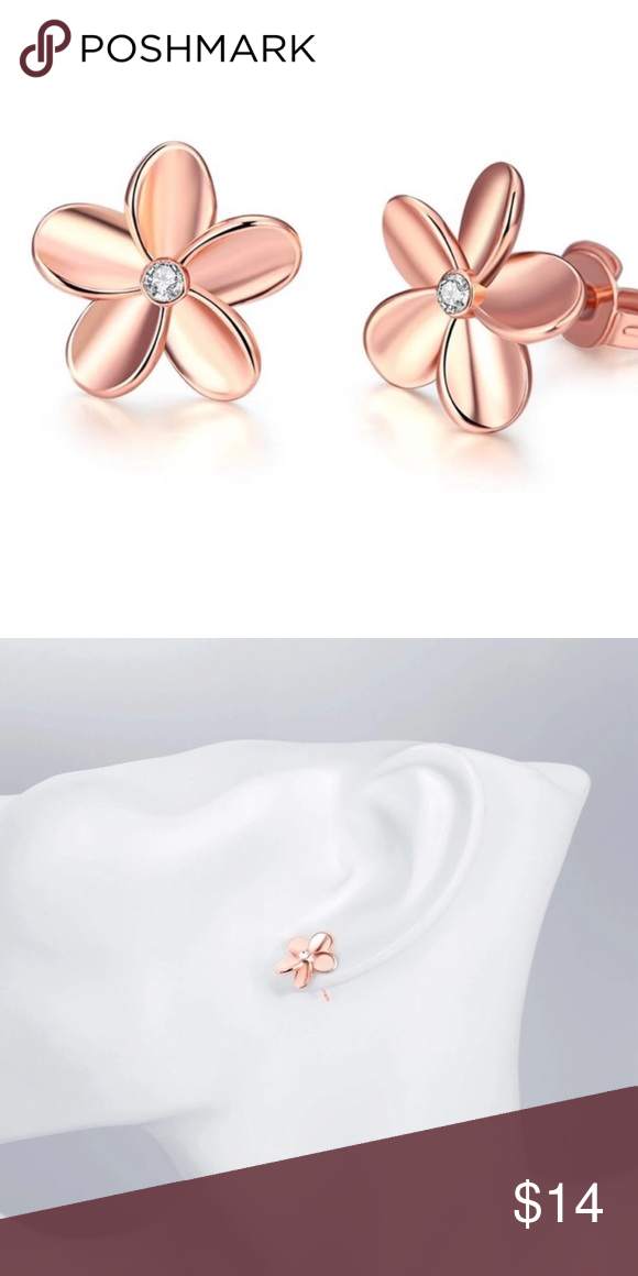 Rose Gold Flower Stud Earrings Rose Gold Flower Stud Earrings Fun And Fabulous Funky Sassy Boutique Jewelry Awesome Quality Uniqu Stud Earrings Gold Flowers Earrings