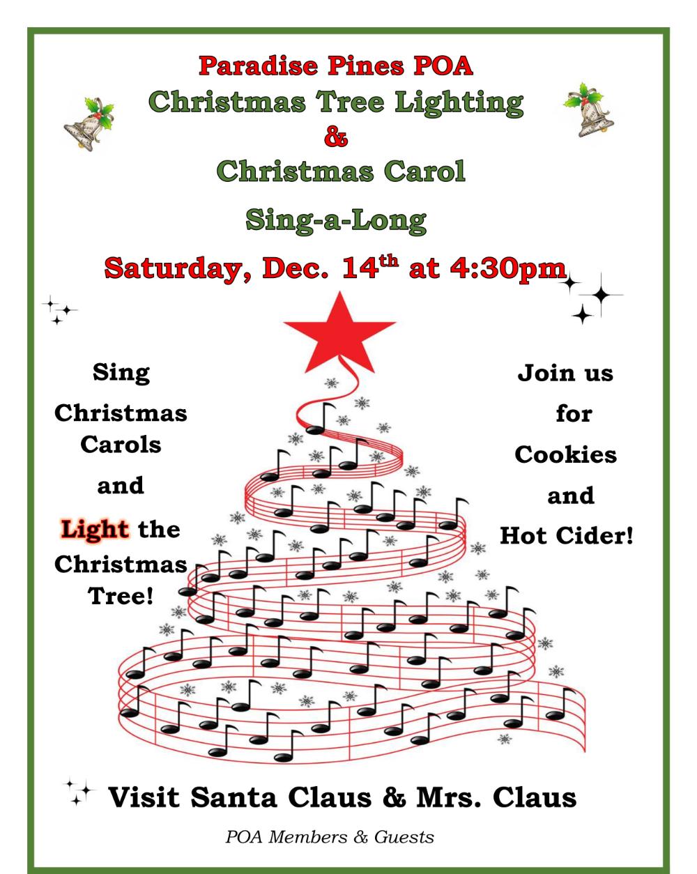 Paradise Pines Poa Home Page Christmas Tree Lighting Carols Cookies Hot Cider
