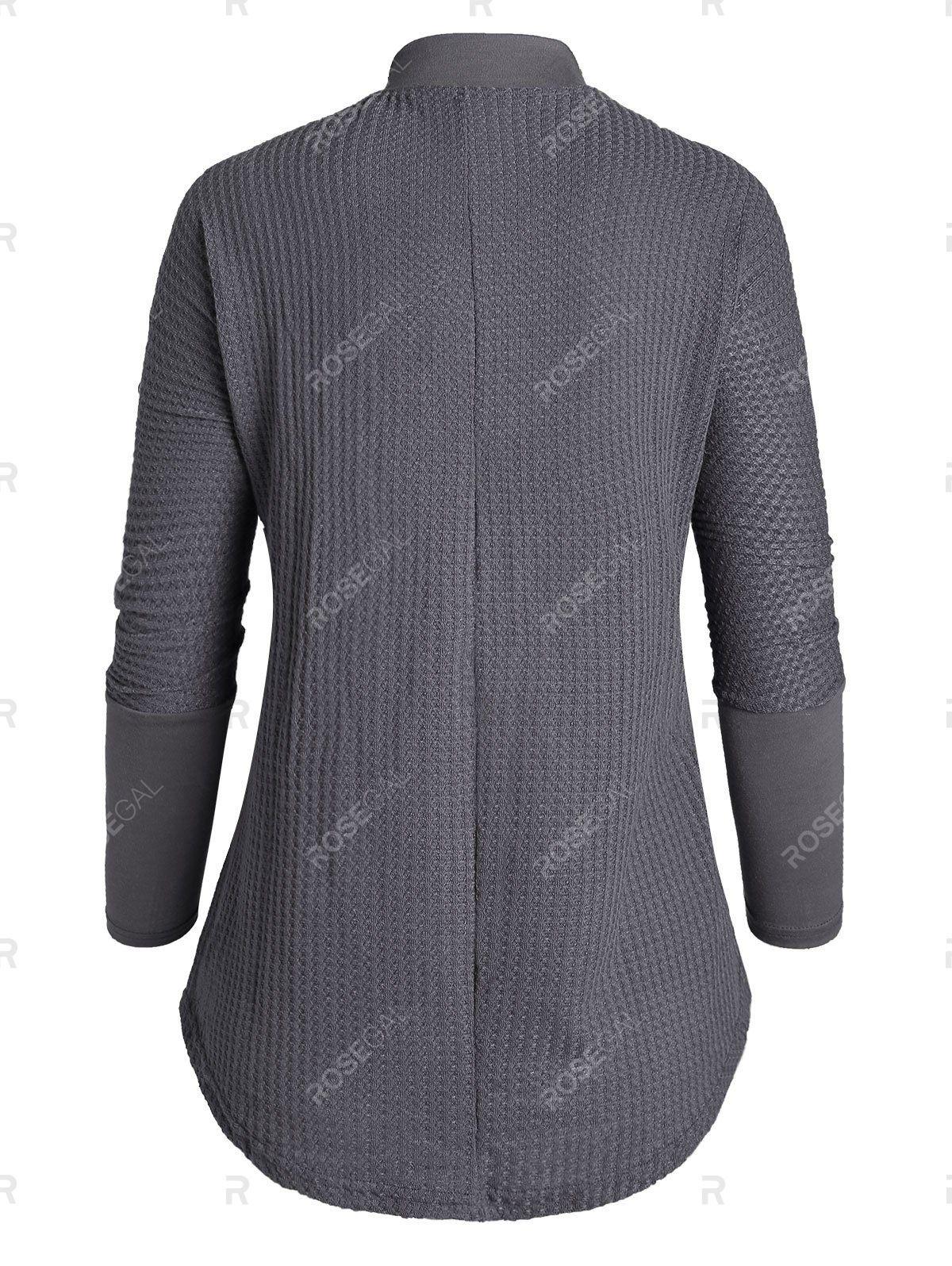 Plus Size Half Button Irregular Knitwear 7