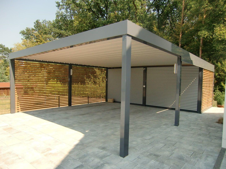 Carport Aus Stahl Mit Gerateraum Abstellkammer Hinten Integriert Brandl Stahlcarport Carport Carport Stahl