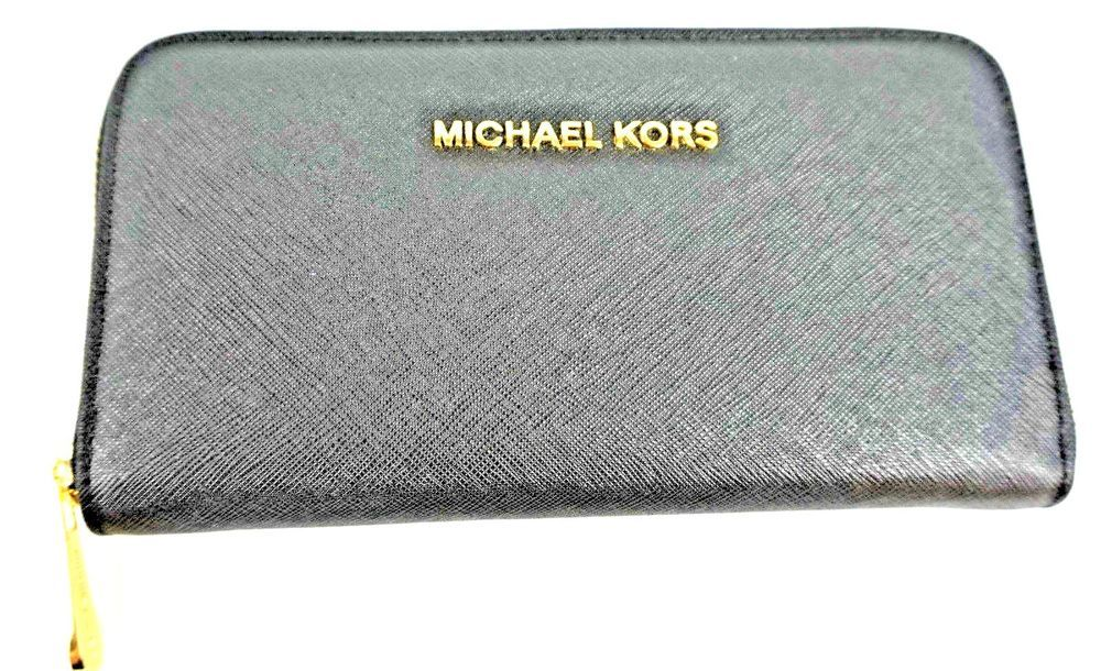 8ab690bb260d MICHAEL KORS Women Wallet Black Jet Set Travel Zip Around Saffiano Leather # MichaelKors #JetSetTravelZipAroundSaffianoLeather