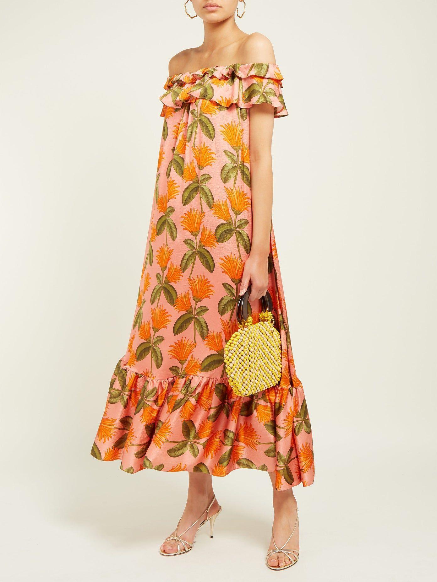 Agata Floral Print Silk Satin Midi Dress Borgo De Nor Matchesfashion Us In 2020 Satin Midi Dress Dresses Printed Wrap Dresses