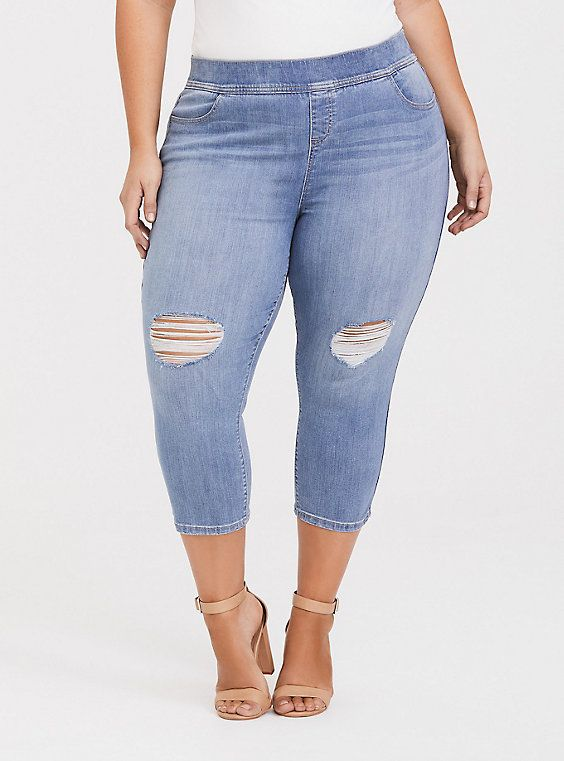 1d70dc612f33b8 High-Rise SPRSKNY Stretch Pull-On Lean Jeans Distressed in Light in ...
