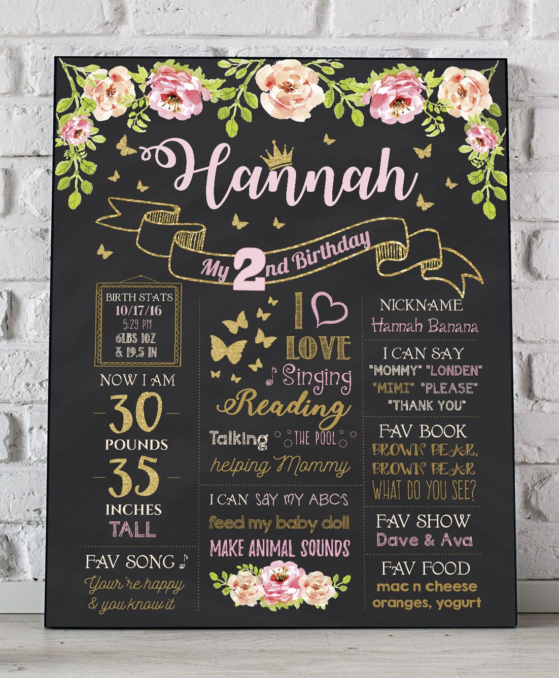 Floral First Birthday Chalkboard Poster Butterfly Party Sign Etsy Birthday Chalkboard Party Signs Birthday Sign