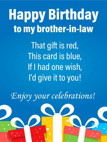 Celebratory Poem Happy Birthday Card For Brother In Law Birthday Greeting Cards By Davia Birthday Cards For Brother Happy Birthday Wishes Quotes Happy Birthday Cards