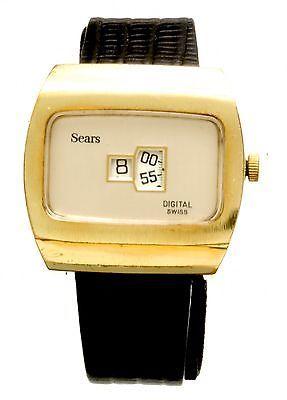 6ff41ea8e758 Vintage Sears Early Digital Disc Display Man s Wrist Watch CA1960s ...