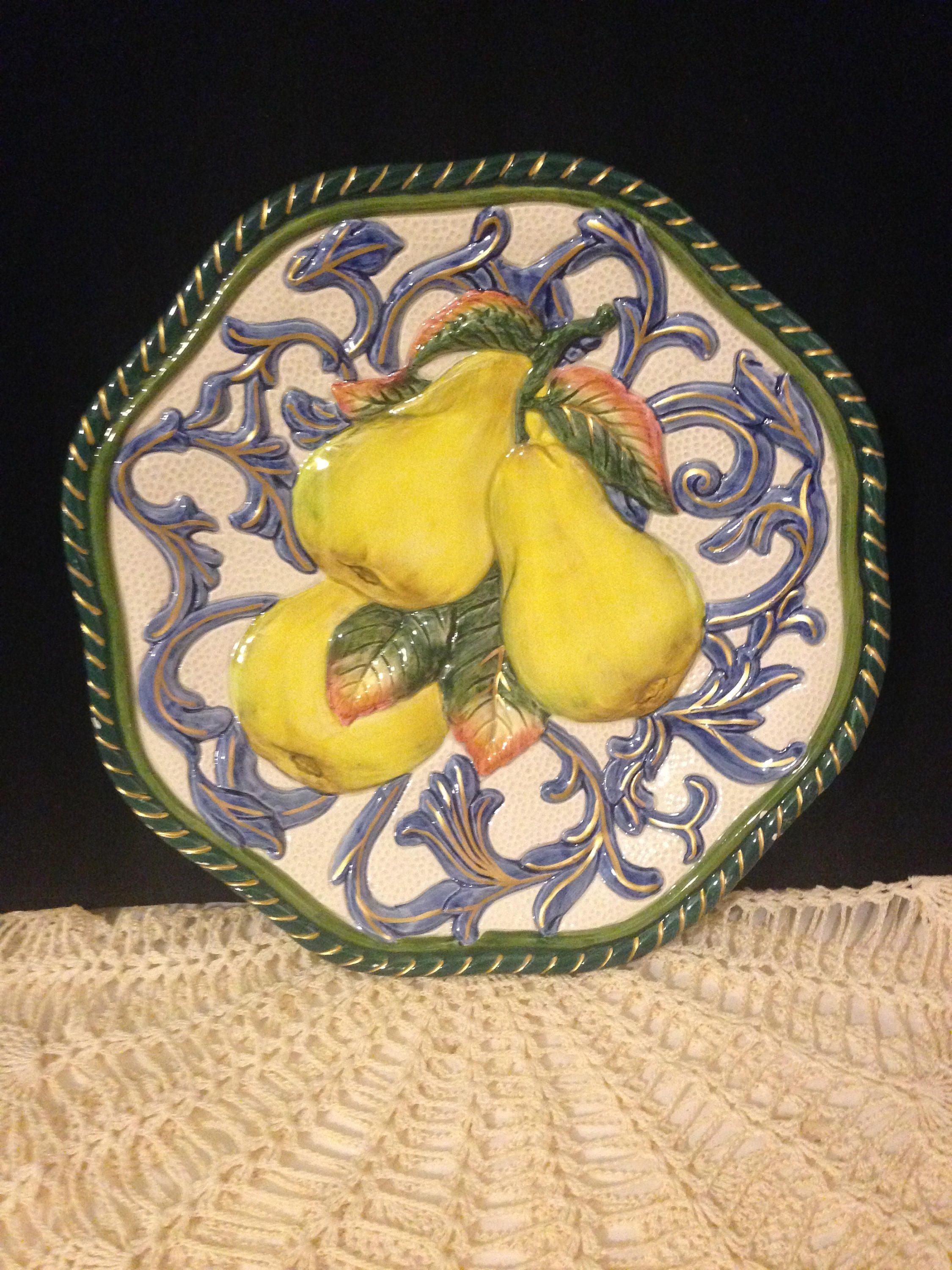 Fitz and Floyd Plate~ Golden Pears, Decorative Plate, Colorful ...