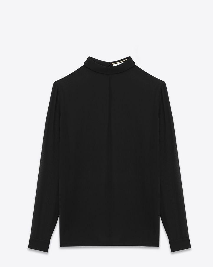 b0747fa54bd667 Saint Laurent - Fold-over collar blouse in black silk georgette ...