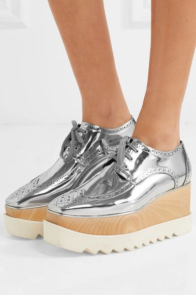 062c9518ebd0 Stella McCartney - Metallic Faux Leather Platform Brogues - Silver ...