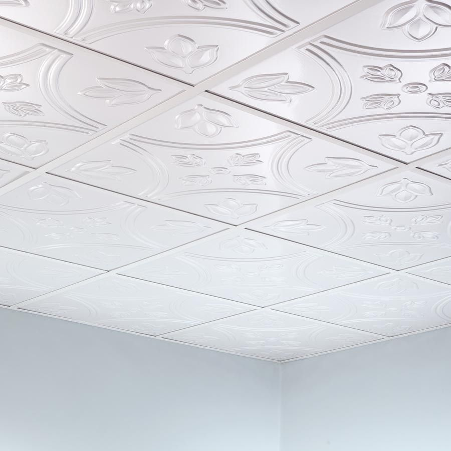 Fasade Ceiling Tile 2x2 Suspended Traditional 5 In Matte White Ceiling Tiles Ceiling Panels Ceiling Tile