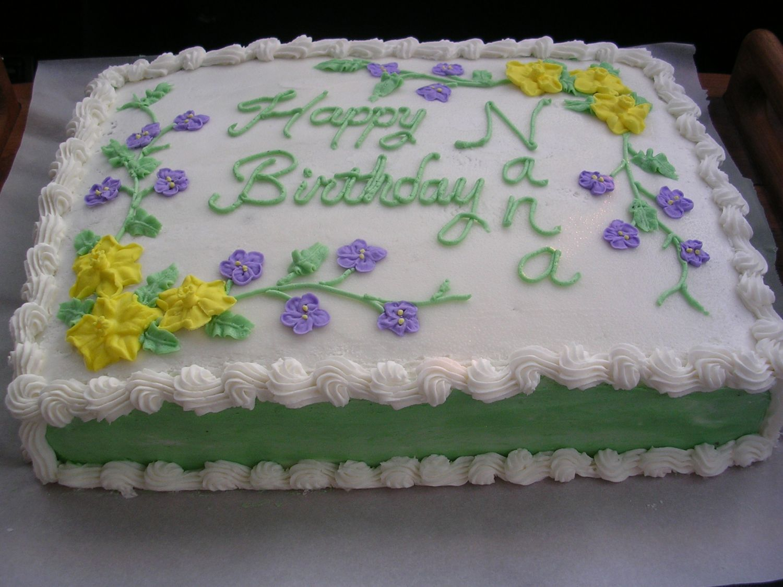 Birthday Cake Decorating Ideas Buttercream : Nana s Birthday - This was a 1/2 Vanilla, 1/2 Chocolate ...