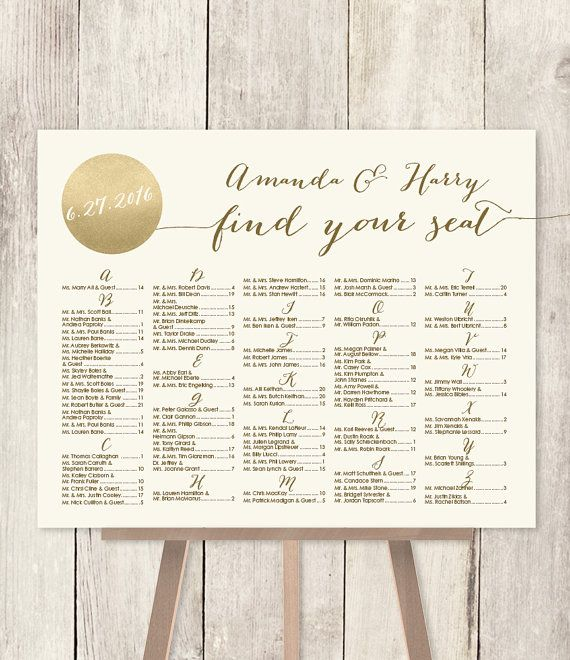 Alphabetical seating chart sign diy gold sparkle wedding metallic and cream find your seat customized printable pdf also rh pinterest