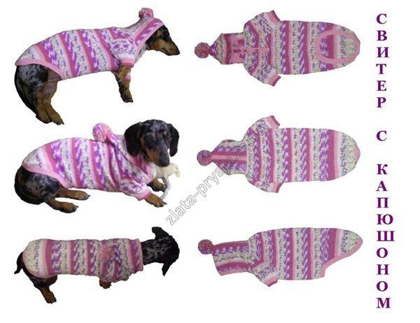 Кофта вязанная для собаки с капюшоном