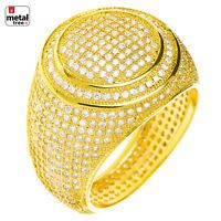 c5a338b0b1e552 Men's Hip Hop 14k Gold Plated All Around CZ Band Double Round Style Pinky  Ring