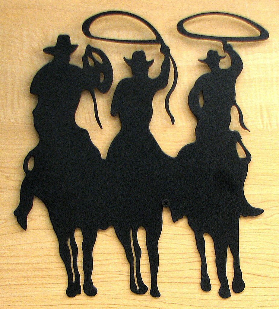 Large Metal Cut Out - 3 Cowboy Silhouette   Cowboys, Silhouettes and ...