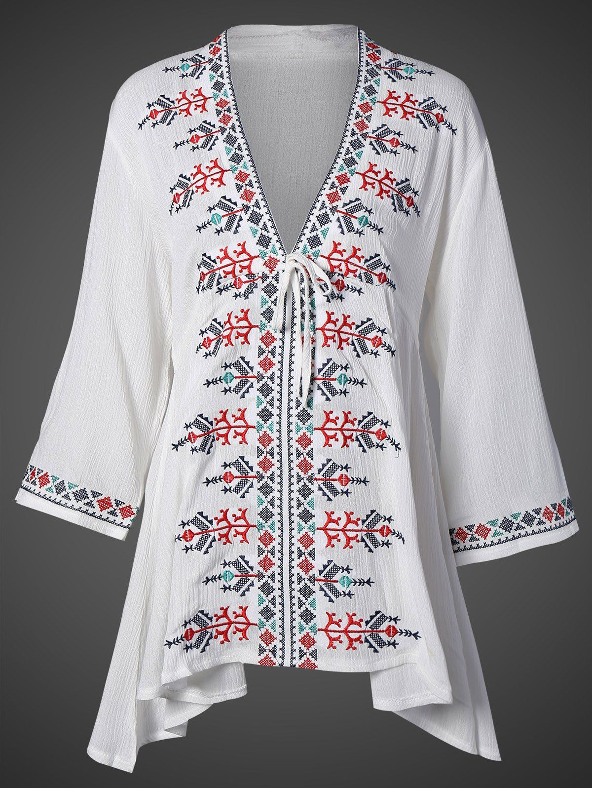 Embroidered Plunging Neck Top #women, #men, #hats, #watches, #belts, #fashion