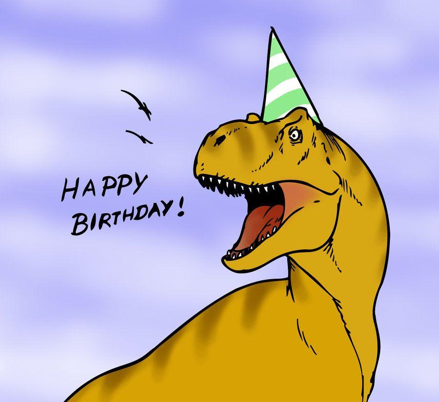Открытка с днем рождения динозавр
