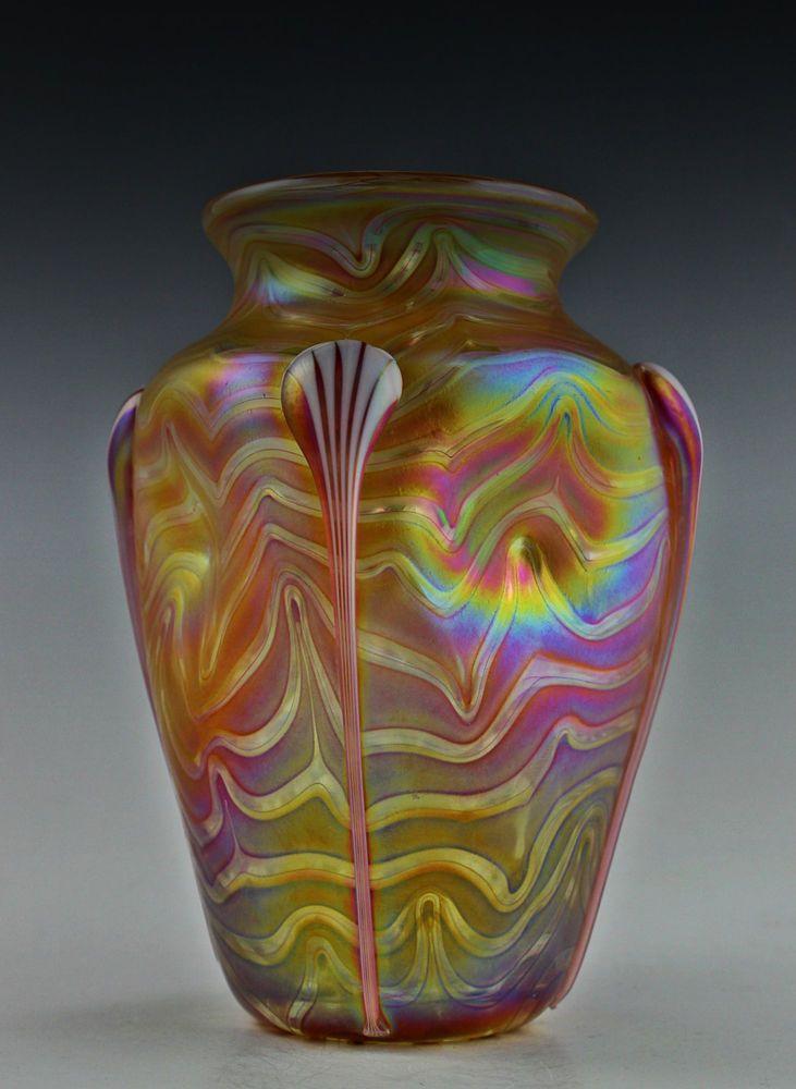 Bohemian Art Deco Glass Vase Iridescent Czech Glass Decoracin