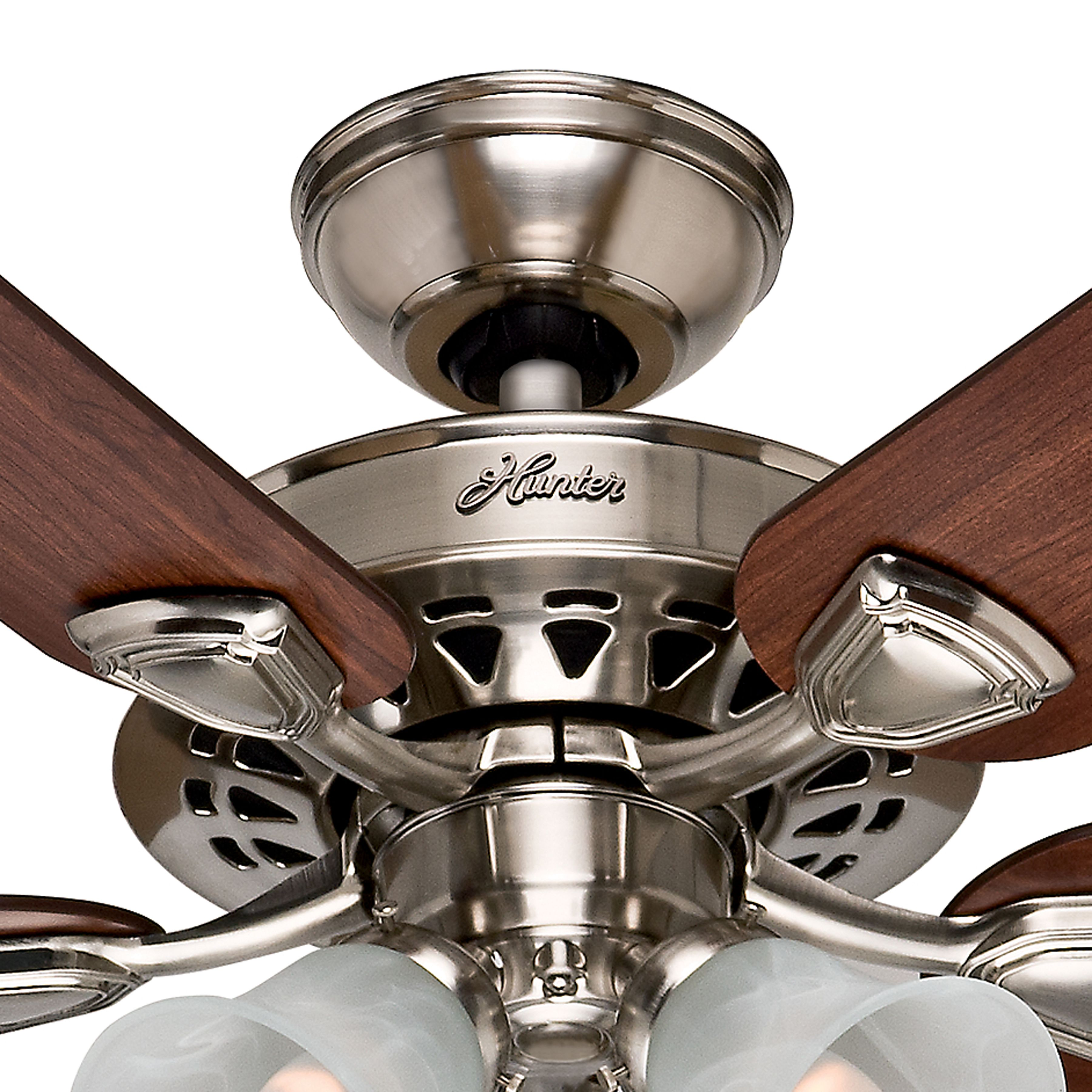 Hunter Fan 52 Ceiling Fan In Brushed Nickel With 4 Light Fixture And Swirled Marble Shades 5 Blade Certified Refurbished Ceiling Fan Glass Light Fixtures 52 Ceiling Fan